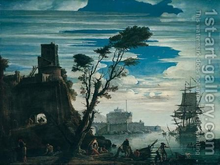 A Southern harbour by moonlight by (after)  Claude-Joseph Vernet - Reproduction Oil Painting