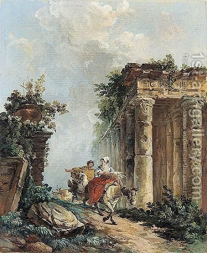 Two figures on horseback in a landscape with ruins by (after) Hubert Robert - Reproduction Oil Painting