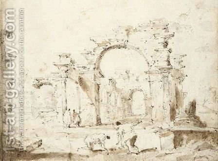 Classical ruins with figures by (after) Francesco Guardi - Reproduction Oil Painting