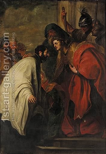Saint Francis Xavier Before A King by (after) Dyck, Sir Anthony van - Reproduction Oil Painting
