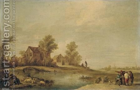A Landscape With A Herdsman Resting With His Flock By A River, Peasants Drinking On The Opposite Bank, And A Peasant Crossing A Bridge Towards A Village Beyond by (after)  David The Younger Teniers - Reproduction Oil Painting