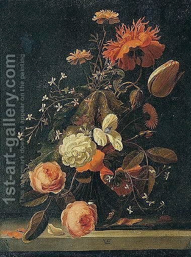 Still Life With Roses, Tulips, Carnations, And Other Flowers In A Glass Vase On A Stone Ledge by (after) Simon Pietersz. Verelst - Reproduction Oil Painting