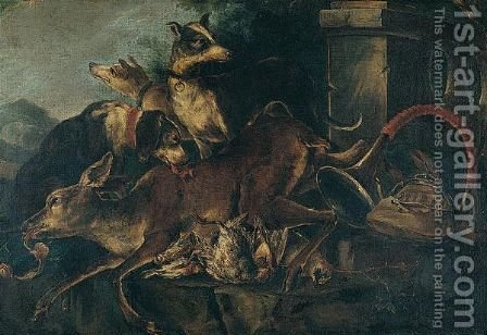 Still Life With Hounds, A Stag, Partridges And Other Game, With A Hunting Horn In A Parkland Landscape by (after) Baldassare De Caro - Reproduction Oil Painting