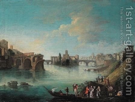 Rome, A View Of The Tiber With The Ponte Rotto by (after) Caspar Andriaans Van Wittel - Reproduction Oil Painting