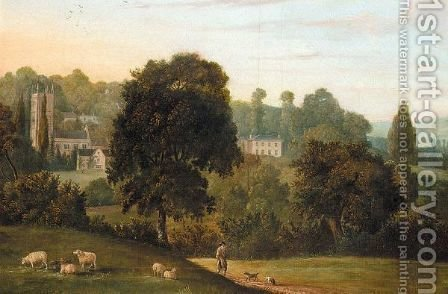 Landscape With Church, Possibly Bere Regis, Dorset by (after) William Tomkins - Reproduction Oil Painting