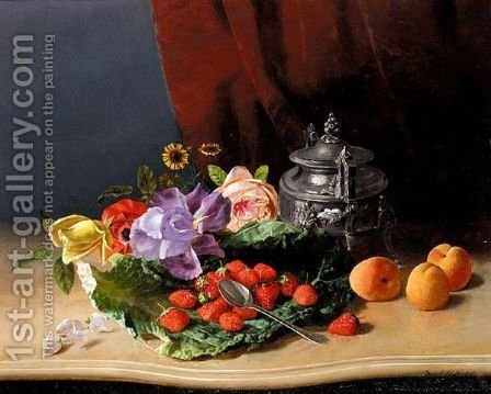 David Emil Joseph de Noter: Still Life Of Flowers And Fruit - reproduction oil painting
