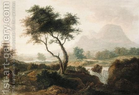 Landscape With Figure And Mule On A Path, And A Waterfall, Mountains Beyond by (after) Thomas Roberts - Reproduction Oil Painting