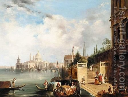 View Of Santa Maria Della Salute And The Dogana From The Mint, Venice by (after) Edward Pritchett - Reproduction Oil Painting