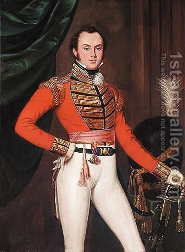 Portrait Of Captain James Gage (1793-1836) by (after) Thomas Clement Thompson - Reproduction Oil Painting