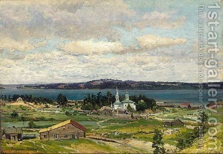 View Of A Russian Provincial Church by (after) Vladimir Egorovic Makovsky - Reproduction Oil Painting