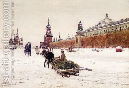 Red Square Under Snow by (after) Paul-Louis Bouchard - Reproduction Oil Painting