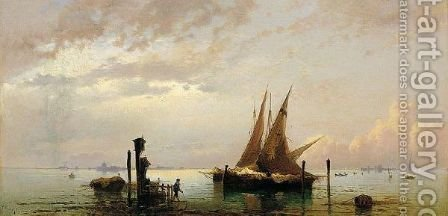 On The Lagoon, Venice by Hermann David Solomon Corrodi - Reproduction Oil Painting