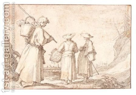 Two Women And A Shepherd On The Way To The Market by Abraham Bloemaert - Reproduction Oil Painting