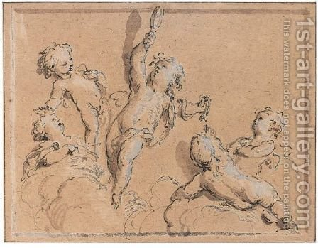 Putti Playing With A Mirror by Jacob de Wit - Reproduction Oil Painting