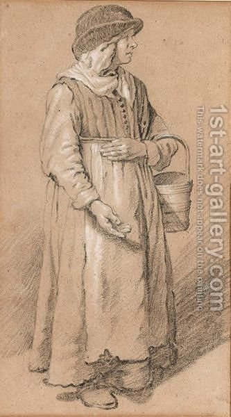 Full-Length Study Of A Milkmaid by (after) Jan De Bray - Reproduction Oil Painting