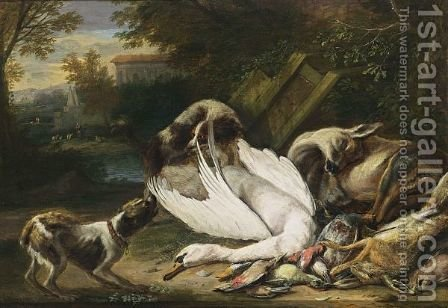 A Hunting Still Life With A Swan, A Deer, A Hare, And Birds, Together With Two Dogs by Adriaen de Gryef - Reproduction Oil Painting