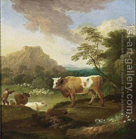 An Italianate Landscape With A Bull In The Foreground And A Shepherd With His Herd Nearby by Adriaen Van Diest - Reproduction Oil Painting