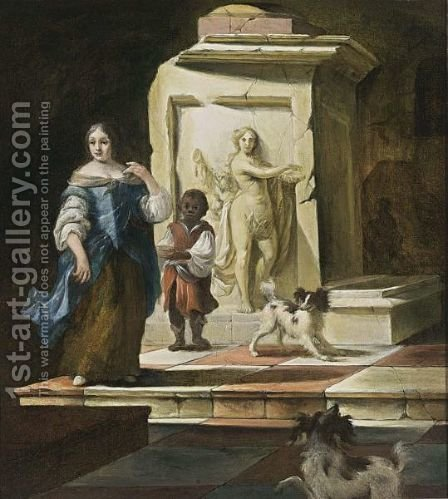 A Lady With A Negro Servant And Two Dogs Near A Classical Fountain by (after) Thomas Van Der Wilt - Reproduction Oil Painting