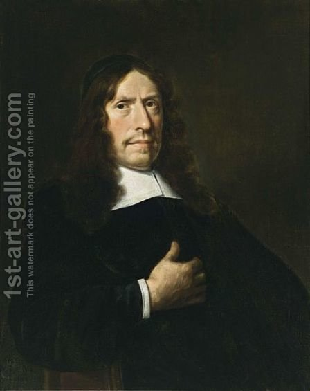 A Portrait Of A Cleric, Aged 65, Wearing A Black Coat With A White Collar And Sleeves And A Black Cap by Hendrick Van Vliet - Reproduction Oil Painting