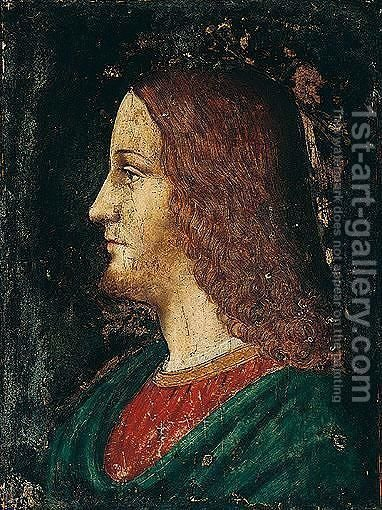 A Study Of The Head Of Christ, In Profile by (after) Bernardino De' Conti - Reproduction Oil Painting