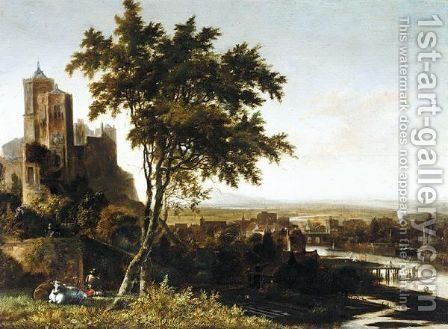 A Landscape With A Drover And His Cows Overlooking A Riverside Town by (after) Gerrit Van Battem - Reproduction Oil Painting