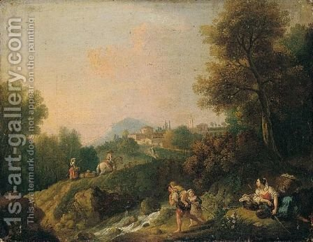 A Pastoral Landscape With Peasants And Herders By A River, A Town Beyond by Giuseppe Zais - Reproduction Oil Painting