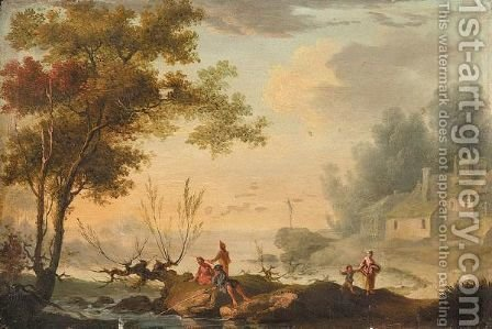 An Italianate Landscape With Fishermen, A Village Nearby by (after) Simon Mathurin Lantara - Reproduction Oil Painting