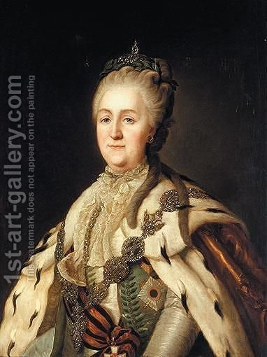 Portrait Of Empress Catherine II Alexeivna In State Robes by (after) Jean Voilles - Reproduction Oil Painting