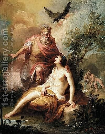 Jupiter And Io by (after) Francois Lemoine (see Lemoyne) - Reproduction Oil Painting