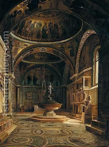 The Baptistery Of The Basilica Of San Marco In Venice by Italian School - Reproduction Oil Painting