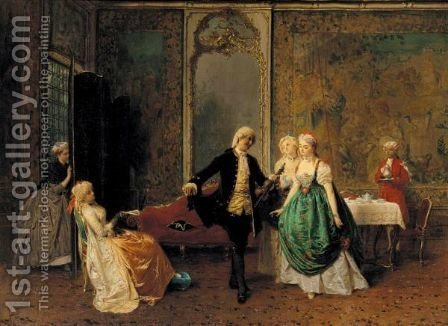 The Dancing Lesson by Girolamo Induno - Reproduction Oil Painting