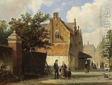 Villagers In The Streets Of A Dutch Town by Adrianus Eversen - Reproduction Oil Painting