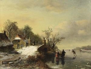 Famous paintings of Ice skating: Skaters Near A Bridge