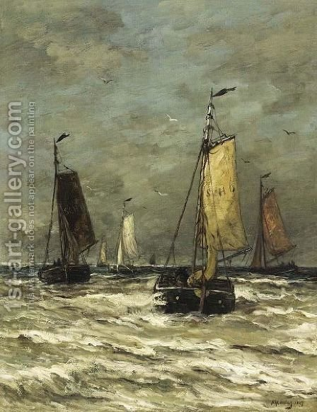 Bomschuiten At Sea 3 by Hendrik Willem Mesdag - Reproduction Oil Painting