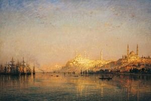 Famous paintings of Clouds & Skyscapes: View Across The Golden Horn, Constantinople