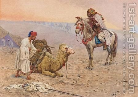 A Horseman Stopping At A Desert Camp, North Africa by Giulio Rosati - Reproduction Oil Painting