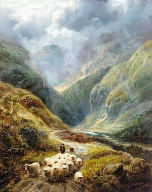 Shepherd With His Flock In A Highland Valley