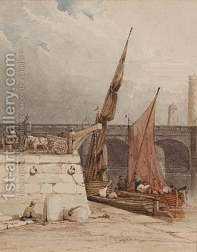Waterloo Bridge And Shot Tower by (after) Samuel Owen - Reproduction Oil Painting