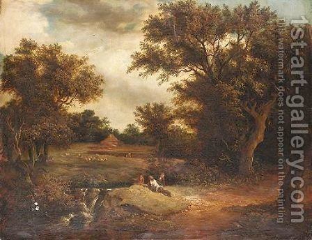 Landscape With Figures By A Waterfall by (after) Edward Charles Williams - Reproduction Oil Painting