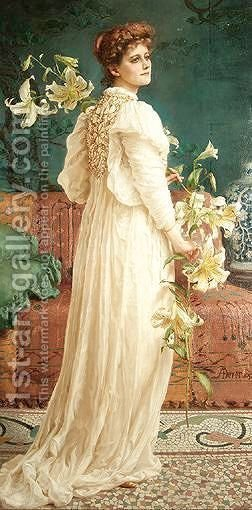 Lady With Lilies by Alfred Dever - Reproduction Oil Painting