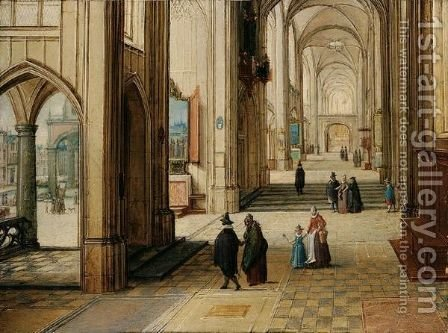 A Gothic Church Interior With An Open Loggia To The Left by Hendrick Van Steenwijck II - Reproduction Oil Painting