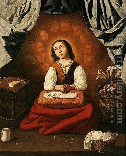 The Young Virgin At Prayer by (after)  Francisco De Zurbaran - Reproduction Oil Painting