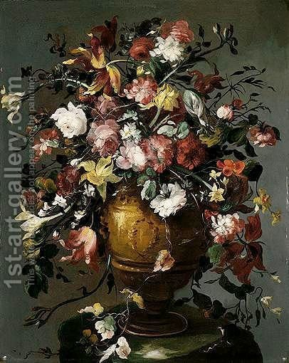 A Still Life Of Roses, Daffodils, Carnations, Narcissi And Tulips In A Gilt Urn, Upon A Stone Pedestal by (after) Francesco Guardi - Reproduction Oil Painting