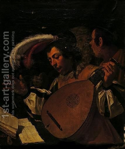 A Concert A Young Man Playing A Lute And Singing With Two Companions by (after) Jan Van Bijlert - Reproduction Oil Painting