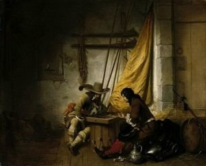 Famous paintings of Taverns: A Guardroom Scene With Two Soldiers Playing Backgammon And Another Asleep
