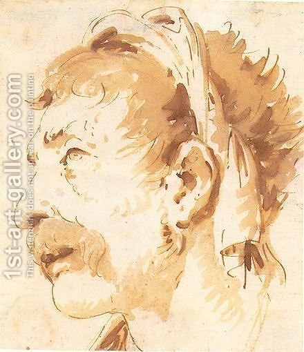 Head Of A Man In Profile by Giovanni Battista Tiepolo - Reproduction Oil Painting
