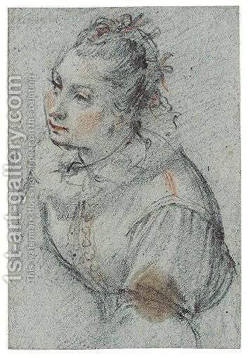 Half-Length Study Of A Woman by Alessandro di Agostino Casolani - Reproduction Oil Painting