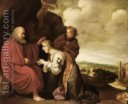 The Shunamite Before The Prophet Elisha by (after) Francois Venant - Reproduction Oil Painting