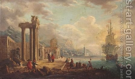Harbour Scene With Figures Among Ancient Ruins by (after) Alessandro Grevenbroeck - Reproduction Oil Painting