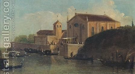 A View Of A Wedding At A Church In The Venetian Lagoon by Giuseppe Bernardino Bison - Reproduction Oil Painting